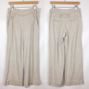 ANTHROPOLOGIE | elevenses wide leg linen pants